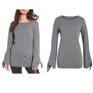 Trouve Tie Sleeve Sweater in Gray